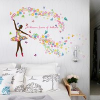 Wholesale Background Design For Tv Wall - 60*90cm girl dancing home stickers PVC romantic flower fairy living room sofa TV background wall romantic decoration wall stickers wholesale