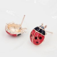 Wholesale Cute Stud Earrings Cheap - 12 Pairs Lot Hot Selling Fashion Cheap Ladybug Earrings Jewelry Lifelike Red With Black Ladybug Stud Earrings For Daughter Gift Fashion Cute