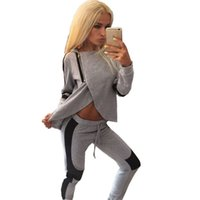 Wholesale hot girls sexy american - hot sale young girl fashion tracksuits Europe American style sexy outfits asymmetrical front crop top 5sizes