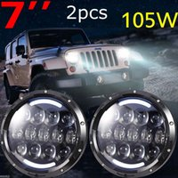 """Wholesale Led Amber - Jeeps Wrangler 7"""" Inch 105W Headlights LED Hi Lo Beam with Amber Turn Signal and White DRL For 1997-2016 JK TJ LJ Unlimited"""