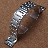 Wholesale Solid Metal Bracelets - Silver Bracelet Solid Stainless Steel Watch Band Adjustable Strap Metal High Quality Watchband 18mm 20mm 22mm 24mm Mens Womens polished new