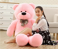 Wholesale Pink Stuffed Teddy Bears - New arrival TEDDY BEAR STUFFED LIGHT BROWN GIANT JUMBO size:80cm 100cm 120cm 140cm 160cm 180cm 200cm birthday gift Christmas gift