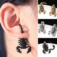 Wholesale cuff earrings for men - 1PCS New Gothic Punk Exaggerated 3D Scorpion Cuff Earring for Women Men Stereo Retro Black Gold Plated Animal Stud Earrings