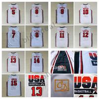 Wholesale Basketball Jersey Usa - 1992 USA Dream Team Jerseys Cheap 5 Robinson 6 Patrick Ewing 7 Larry Bird 8 Scottie Pippen 10 Clyde Drexler 11 Karl Malone 13 Chris Mullin 1