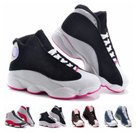 Wholesale Cheap Girls Summer Shoes - Cheap Kids Air Retro 13 Children Basketball Shoes Boy Girl Retro 13s Black Sports Shoes Toddlers Athletic Kids Shoes Birthday Gift