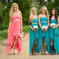 Wholesale Cheap Turquoise Bridesmaids Dress - Teal Turquoise Chiffon High Low Bridesmaid Dresses Sweetheart Crystal Belt Blush Cheap Country Bridesmaids Dress Beach Party Gowns
