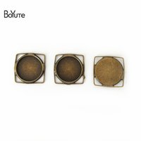 Wholesale Silver Square Cabochon Setting - BoYuTe 40Pcs 12MM Cabochon Setting Square Shaped Antique Bronze Silver Plated Cameo Cabochon Base DIY Jewelry Findings