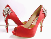 Wholesale Silver Beaded Peep Toe Heels - 2017 red white Designer Shoes for Wedding Silver High Heel Wedding Shoes Silk Satin with Crystal Bridal Shoes for Ladise Evening prom party
