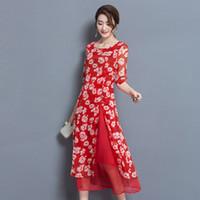 Wholesale Maxi Dresses Silk Chiffon - Summer Retro Silk Long Dress Maxi Dresses Women Large Size Beach Dress Sexy Silk Bohemian Dress Female Casual Long Summer Dresses