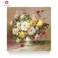 Wholesale Hand painted flower oil painting abstract impression style restaurant bedroom decoration