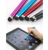 kalem kapasitif kalem ince toptan satış-Toptan-Karışık Renkli Kapasitif Stylus Kalem Ince Stylus Tüm Kapasitif Tüm Cep Telefonu Tablet Kalem Stylet Kalem Ile Klip 10 adet / grup