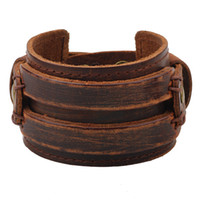 Wholesale Brown Belt Snap - Genuine Leather Cuff Bracelet for Men Chunky Super Wide Belt Cover Wrist Tattoo Snap Closure Stitched Double Band Black Brown Punk Unisex