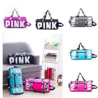 Wholesale Backpack Duffle - Vs Pink Duffle Bag Large Capacity Striped Waterproof Travel Bags Sports Bags Beach Bag Shoulder Bag Women Handbags
