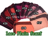 Wholesale Muslim Head Scarf Accessories - Wholesale- Fashion Oversized Lace Border Plain Solid Scarf Shawl Head Wrap Muslim Hijab Women's Accessories, Free Shipping