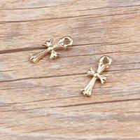 Wholesale Gold Tone Bracelet Cross - 10pcs lot Zinc Alloy Gold Tone Cross Charm Pendant For Necklace Bracelet Fashion Jewelry Accessories DIY 7*16mm