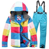 Wholesale Pink Suits For Women Cheap - Wholesale- Hot! good quality cheap women ski suit set outdoor sport clothes winter skiing snowboard suit waterproof for women