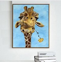 Wholesale High Quality Funny Mouth - funny animal Rose in giraffe mouth,High Quality genuine Hand Painted Wall Decor Abstract Animal Pop Art Oil Painting On Canvas ali-Qijia