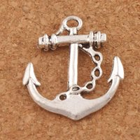 Wholesale Anchor Charm Tibetan - Sailling Anchor Charms Hope Pendants 100pcs lot 24X27mm Tibetan Silver Charm Jewelry DIY Jewelry Findings & Components Hot sell