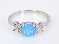Wholesale Silver Blue Opal Ring - Wholesale & Retail Fashion Fine Blue Fire Opal Ring 925 Silver Plated Jewelry For Women RMF16032602