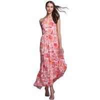Wholesale Wholesale Girls Size Sundresses - Wholesale- Fashion Flora Printed Dresses Long Chiffon Sundresses Women Summer Female Girl Boheminan Dress Plus Size