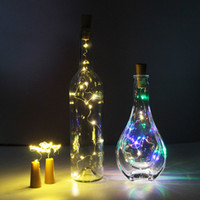 Wholesale Wholesale Wire Garland - Cork Shaped Wine Bottle Stopper Light LED Copper Garland Festoon Wire String Lights Christmas Shining LED Vase Decoration Party