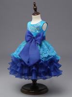 Wholesale Summer Girl Bowknot Dress - Girls Party Dress Children Bowknot Cake Dress Sequins Embroidery Tutu Dress 4 Colors 5 p l