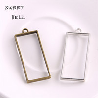 Wholesale Silver Plated Pendant Trays - Min order 20pcs 20*49mm Alloy jewelry setting accessories rectangle hollow glue blank pendant tray bezel charms DIY Handmade Craft D6092-1