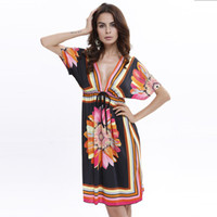 Wholesale Tunic Mini Dress Batwing Sleeves - Boho Style Summer Women Dress Sexy Sundresses Deep V Ethnic Floral Print Tunic Beach Dresses Plus Size Casual Silk Dresses