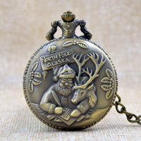 Wholesale Wholesale Plastic Poles - Wholesale-Bronze North Pole ALASKA Santa Claus and Reindeer Quartz Pocket Watch Analog Necklace Chain Mens Womens Christmas Gift