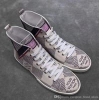 Wholesale student dresses - New Fashion Men's Casual Shoes Real Leather High Top Sneakers Students Running shoe printing luxury Dress shoes Brand Male shoes