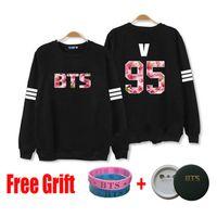 Wholesale Kpop Sweatshirt - Wholesale-2016 BTS Bangtan Boys kpop sweatshirt Jung jimin v couple sleeve black cotton women men sweatshirt high quality hoody
