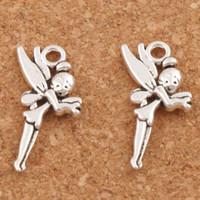 feen schmuck großhandel-200 stücke Flying Tinker Bell Fee Charme Perlen MIC Antike Silber Anhänger Schmuck DIY 25x13,6mm L130