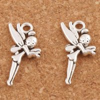 Wholesale 200pcs Flying Tinker Bell Fairy Charm Beads MIC Antique Silver Pendants Jewelry DIY x13 mm L130
