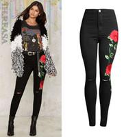 Wholesale Vintage Alta - Wholesale- 2017 New Cotton Black Embroidery Jeans Flowers Fashion Skinny Slim Embroidered Pants Knee Hole Calca Jeans Feminina Cintura Alta