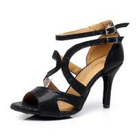 Wholesale womens dance shoes high heel - Womens Latin dance shoes soft outsole high heels Ballroom dancing shoes