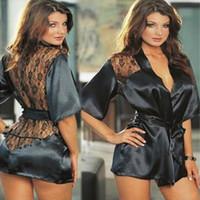 vestidos de noite íntimos venda por atacado-Hot Sexy Lingerie Plus Size Cetim Laço Preto Kimono Intimate Sleepwear Robe Sexy Night Gown Mulheres Sexy Erotic Underwear