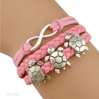 (10 Pieces / Lot) Tortoise Charm Infinity Pink Leather Cuff Braceletes de pulseira Pulseiras para mulheres Men Best Gift Jewelry