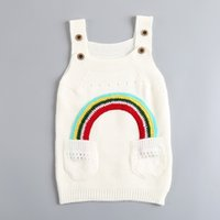 Enfants Rainbow Dresses Baby Girls Pull tricot Suspender Jupe Spring Autumn Enfant Vêtements Cheap Factory Free DHL 435