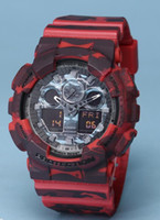 Wholesale Men S Red Wristwatch - new men ga100 Sports led Watches LED Digital 110 Wristwatch Waterproof S Shock Watch All function Work with military digital watch