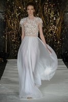 Wholesale halter feather wedding dresses for sale - Group buy Romantic Beach A Line Wedding Dresses Halter With Jacket Chiffon Flower Beads Bridal Gown Floor Length Backless Bohemia Wedding Dress
