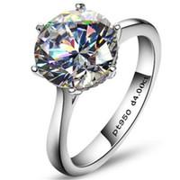 nscd смоделированные алмазы оптовых-Роскошный 4-каратный NSCD Синтетический Имитированный Бриллиантовое Кольцо для Женщин Обручальные Кольца Стерлингового Серебра 925 Сона Бриллиантовое Обручальное Кольцо