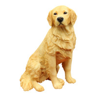 Wholesale Hot Dog Ornament - Hot Sale Golden Retriever Creative Pet Dog Gift Household Dog Resin Puppy Figure Statue Model Figure 5.7Inches