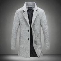 ingrosso cappotti di lana di mens grigio-2017 New Long Trench Coat Uomo Giacca a vento invernale Moda uomo Cappotto di lana Qualità Spessa trench caldo Giacche maschili Grigio 5XL