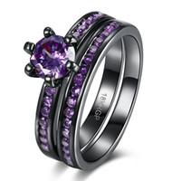 Wholesale Gun Rings For Women - Tuker New Fashion black gun plated Copper alloy Cubic Zirconia Rings For Women Female Vintage Wedding Ring Jewelry PR866