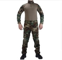 Wholesale Woodland Camouflage Shirt - Camouflage BDU Woodland Combat uniforms shirt with broek and elbow & knee pads militaire game cosplay uniform ghilliekostuum