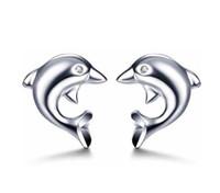 yunus mücevheratı gümüş toptan satış-1 Çift Bayanlar Yunusin Aşk 925 Ayar Gümüş Rhinestone Göz Kulak Damızlık Küpe Takı Yeni (Renk: Katı Renk)