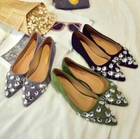 Wholesale Korean Designer High Heel - designer sandals Korean women flat green rivet fashion sexy new Spring Summer shallow mouth wild Shoes