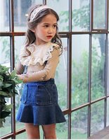 Wholesale Kids Clothes Jeans Skirts - 2017 Summer New Children Girls Jeans Skirt Kids Casual Blue Denim OverallsMermaid Skirt Ball Gown Dress Princess Clothes For Baby Girls