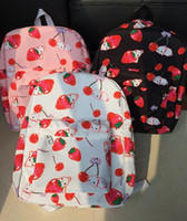 Wholesale Schools Bags Strawberry - Wholesale- 2016 Japanese Harajuku Cute Cherry Strawberry Rabbit Print Pink Black School Backpack Sweet Lolita Canvas Shoulder Bag