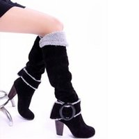 botas de rodilla para mujeres de talla grande al por mayor-Wholesale-Plus Size 35-43 2016 Mujeres de Cuero Cálido Botas de Nieve de Moda Hebilla de Moda Tacones Altos Botas de La Rodilla Zapatos Botas Mujer O1773